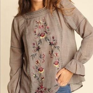 Umgee Mocha floral embroidered peasant top